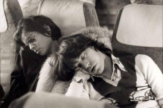 Mick Jagger & Bianca Jagger sleeping on a bus, Berlin, 1973..jpg